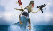 raptor dinosaur guns shark dynamite think might be photoshopped funny pics pictures pic picture image photo images photos lol
