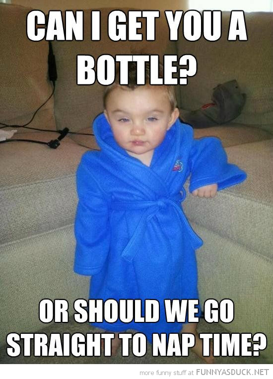 smooth kid boy baby dressing gown get you bottle go straight to nap time funny pics pictures pic picture image photo images photos lol