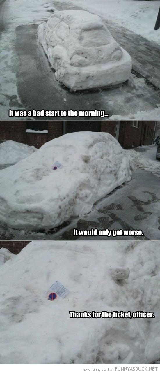bad day snow covered car parking ticket thanks officer funny pics pictures pic picture image photo images photos lol