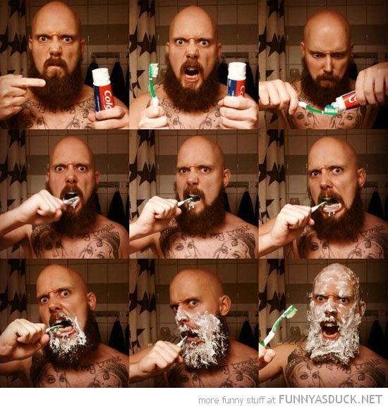 big man beard extreme tooth brushing funny pics pictures pic picture image photo images photos lol