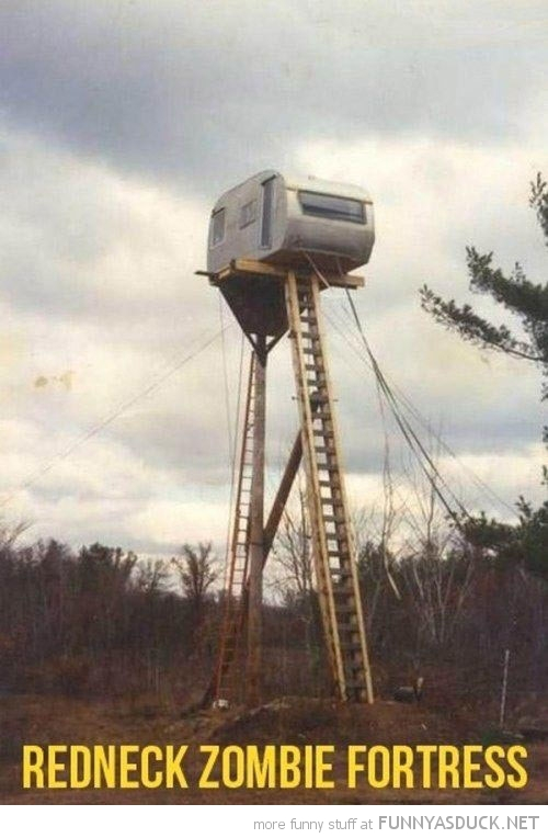 caravan trailer high ladders redneck zombie fortress funny pics pictures pic picture image photo images photos lol