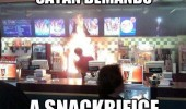 fast food restaurant fire satan demands snackrifice sacrifice funny pics pictures pic picture image photo images photos lol