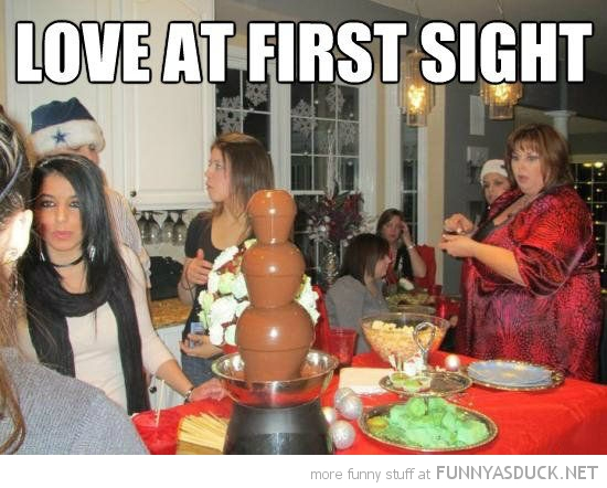 fat woman chocolate fountain love at first sight funny pics pictures pic picture image photo images photos lol