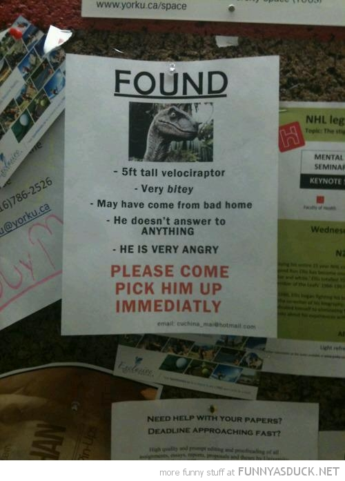 found velociraptor poster sign very bitey funny pics pictures pic picture image photo images photos lol