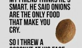 friend thinks hes smart onion only food make cry threw coconut face quote funny pics pictures pic picture image photo images photos lol