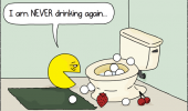 gaming retro pacman being sick toilet never drinking again comic funny pics pictures pic picture image photo images photos lol