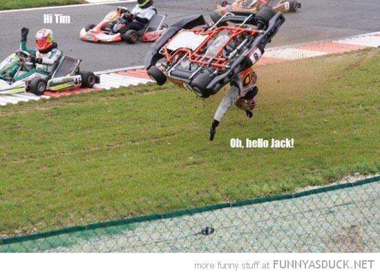go kart crash men waving hi tim funny pics pictures pic picture image photo images photos lol