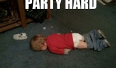 kid baby boy lying down floor party hard funny pics pictures pic picture image photo images photos lol
