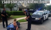 kid boy toy car police cop pulled over stay in vechile sir funny pics pictures pic picture image photo images photos lol