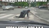 man crawling road crosswalk red bull gives you wings vodka 4x4 funny pics pictures pic picture image photo images photos lol