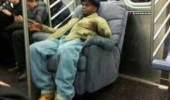 man chair recliner subway train not single fuck given that day funny pics pictures pic picture image photo images photos lol