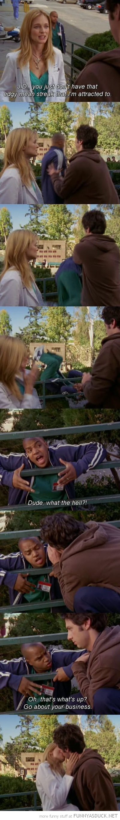 scrubs scene jd turk push over rail tv mean streak funny pics pictures pic picture image photo images photos lol