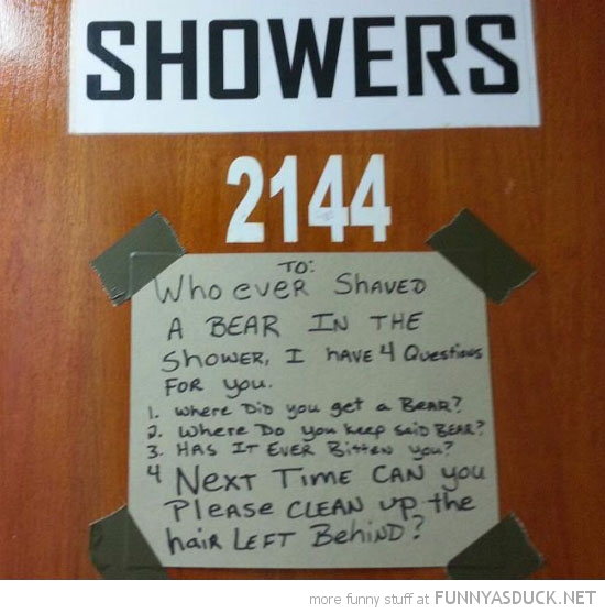 shower room sign  shaved a bear funny pics pictures pic picture image photo images photos lol