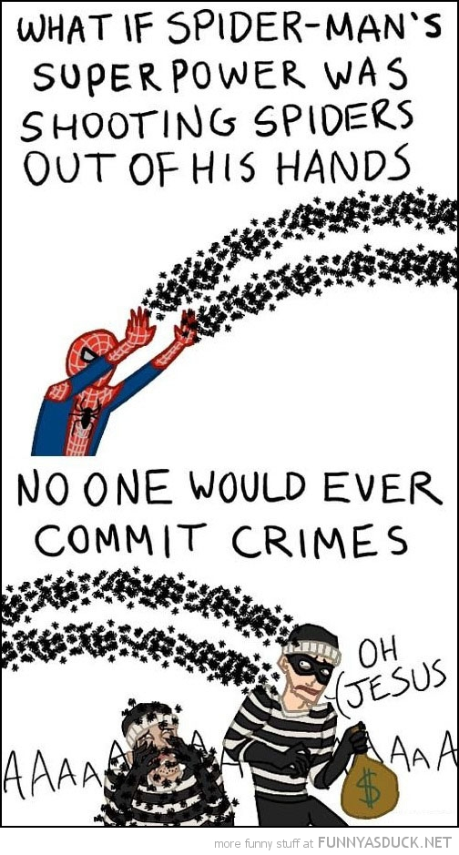 spider-mans power shooting spiders from hand no crimes comic funny pics pictures pic picture image photo images photos lol