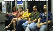 accidental subway rainbow people colored shirts funny pics pictures pic picture image photo images photos lol