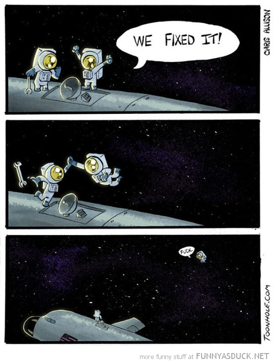 astronauts space comic high five we fixed it funny pics pictures pic picture image photo images photos lol