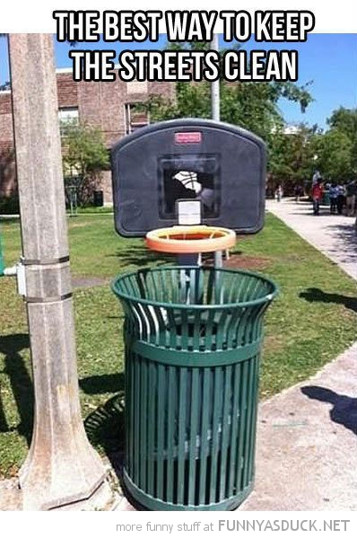 basketball hoop litter bin trash can best way keep streets clean funny pics pictures pic picture image photo images photos lol