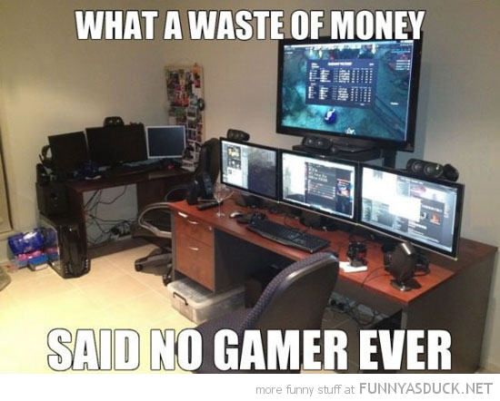big epic gaming set up tvs waste of money said no gamer ever funny pics pictures pic picture image photo images photos lol