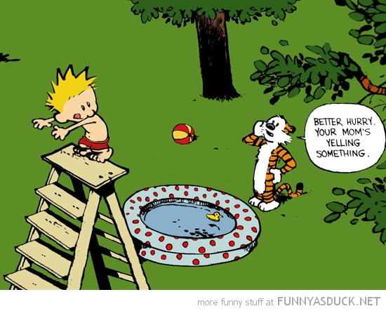 calvin hobbes comic jump paddling poll jump mom shouting funny pics pictures pic picture image photo images photos lol