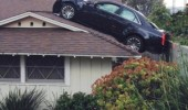 car crashed house roof driveway full found spot funny pics pictures pic picture image photo images photos lol