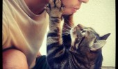 cat lolcat animal holding boys face look at me talk to you  funny pics pictures pic picture image photo images photos lol