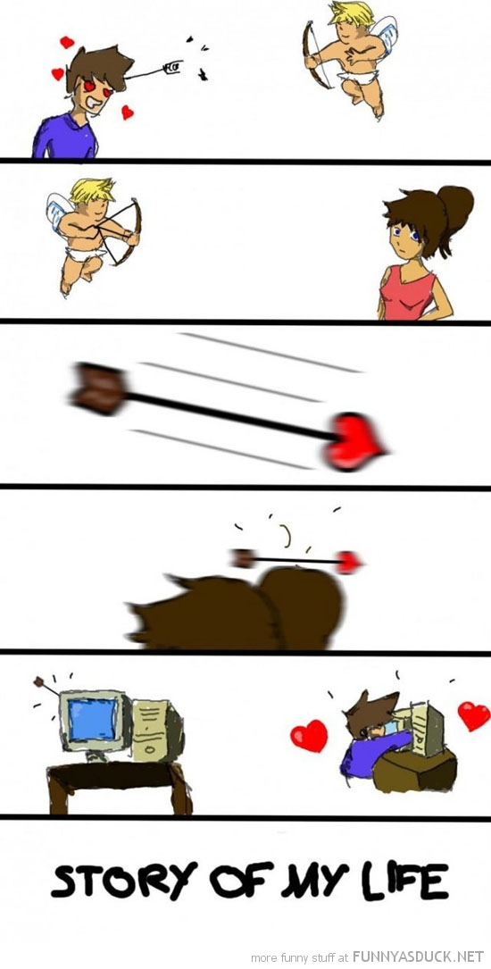 cupid arrow comic computer love story of my life funny pics pictures pic picture image photo images photos lol