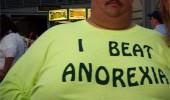fat guy man i beat anorexia t-shirt funny pics pictures pic picture image photo images photos lol