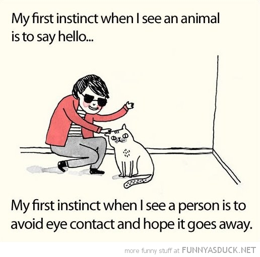 first instinct see animal say hello person avoid eye contact comic funny pics pictures pic picture image photo images photos lol