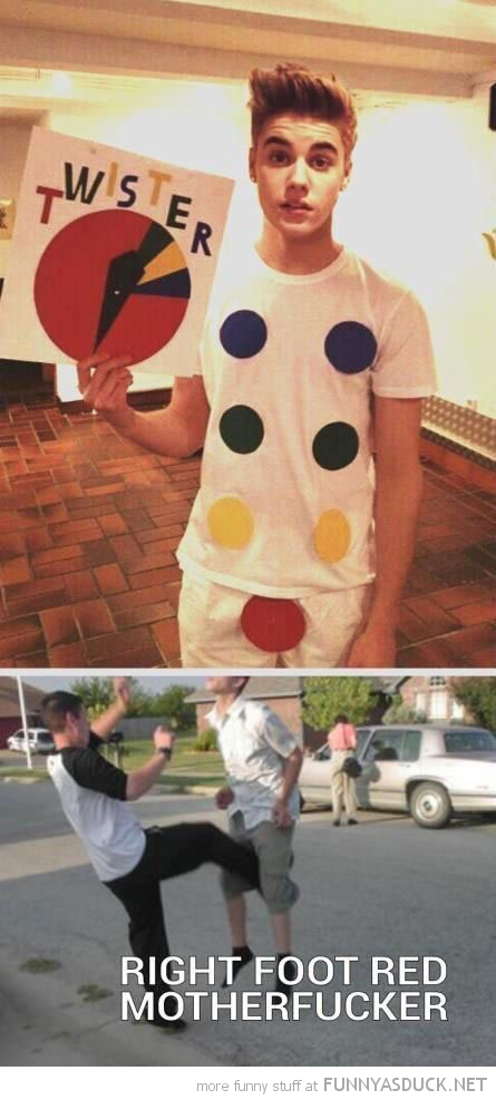 justin beiber twister costume outfit kick balls nuts right foot red funny pics pictures pic picture image photo images photos lol