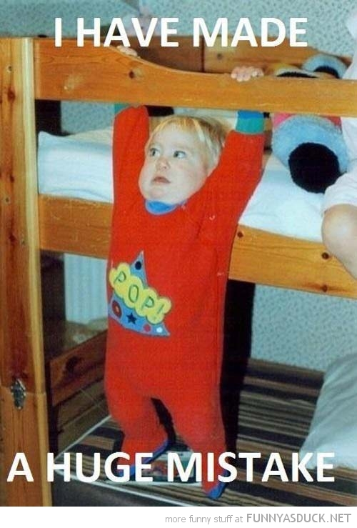 kid boy hanging top bunk bed made huge mistake funny pics pictures pic picture image photo images photos lol