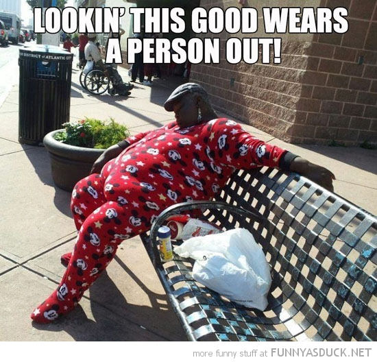 looking this good wears person out fat woman sleeping bench onsie funny pics pictures pic picture image photo images photos lol
