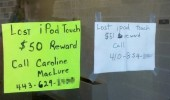 lost ipod touch reward poster apple sign funny pics pictures pic picture image photo images photos lol
