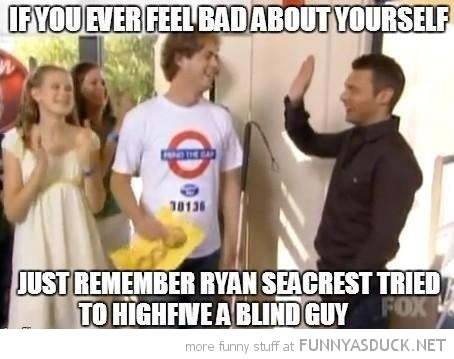ryan seacrest high five blind guy funny pics pictures pic picture image photo images photos lol