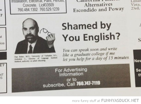 shamed by you english newspaper advert funny pics pictures pic picture image photo images photos lol