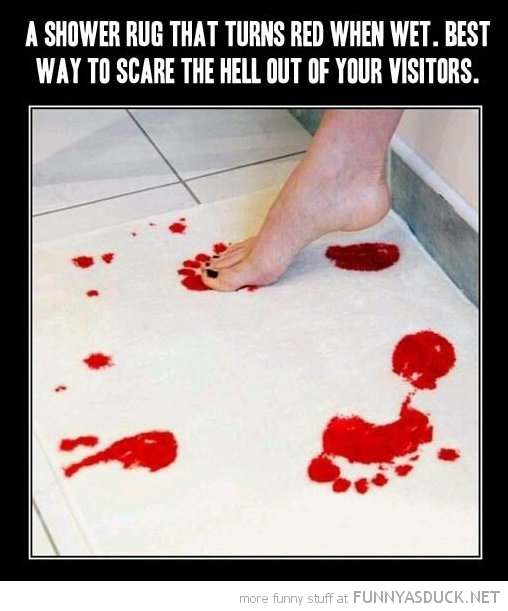 shower rug turns red scare visitors funny pics pictures pic picture image photo images photos lol