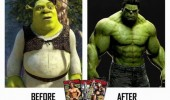 shrek body building incredible hulk before after  film movie avengers funny pics pictures pic picture image photo images photos lol