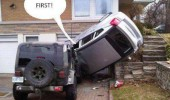 upside down car crash driveway first funny pics pictures pic picture image photo images photos lol