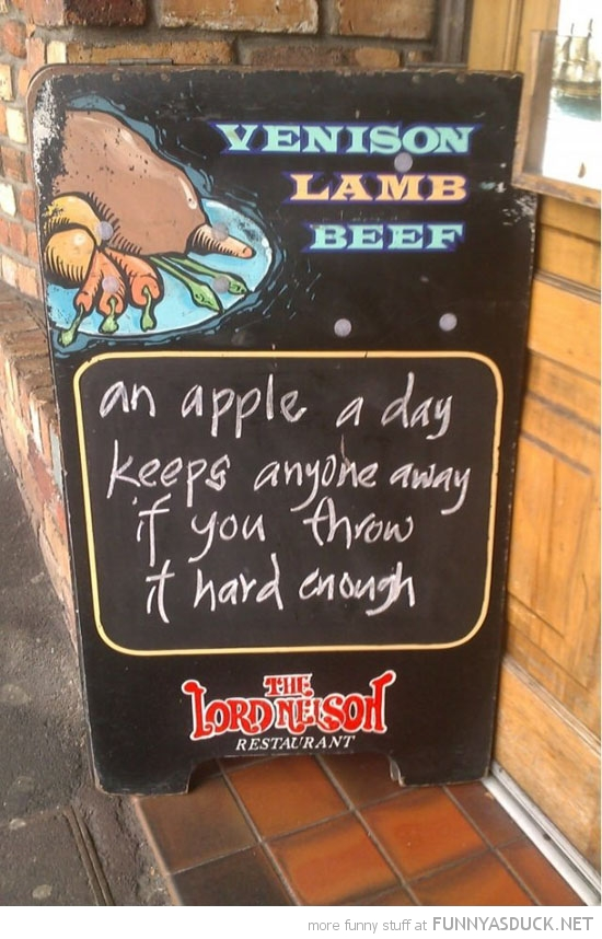 apple a day keeps anyone away throw hard enough pub bar sign funny pics pictures pic picture image photo images photos lol