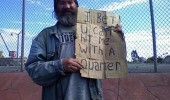 beggar tramp bet can't hit me with quarter sign funny pics pictures pic picture image photo images photos lol