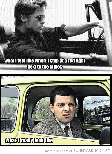 brad pitt mr bean feel like stop traffic lights ladies car funny pics pictures pic picture image photo images photos lol
