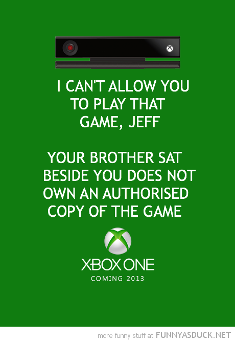 microsoft xbox one can't allow you too play game brother not own copy gaming funny pics pictures pic picture image photo images photos lol