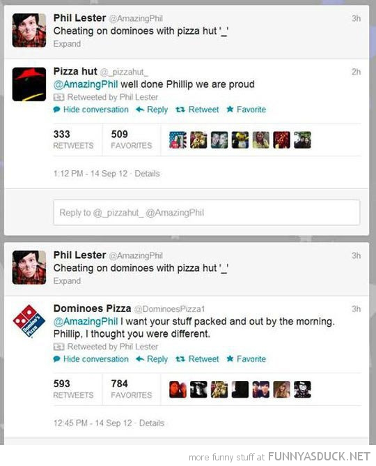 cheating on dominos with pizza hut twitter tweet funny pics pictures pic picture image photo images photos lol