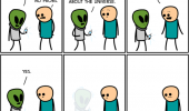 cyanide happiness comic alien ask one question  funny pics pictures pic picture image photo images photos lol