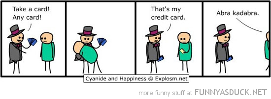 cyanide happiness comic magician take credit card funny pics pictures pic picture image photo images photos lol