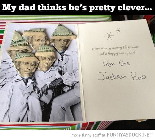 dad thinks clever jackson five birthday card dollars funny pics pictures pic picture image photo images photos lol