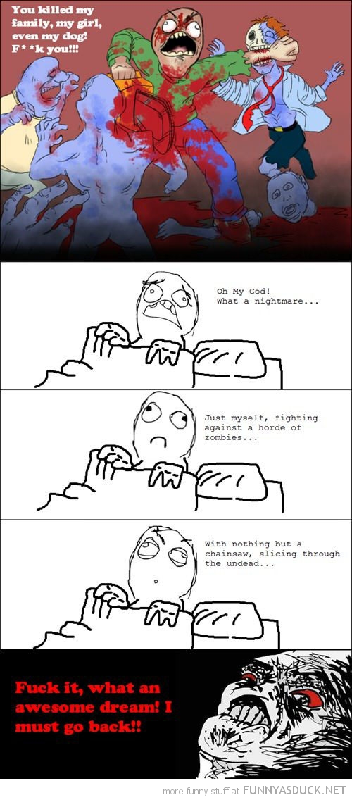fighting zombies dream rage comic meme funny pics pictures pic picture image photo images photos lol