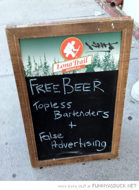 free beer topless bartenders false advertising pub bar sign funny pics pictures pic picture image photo images photos lol