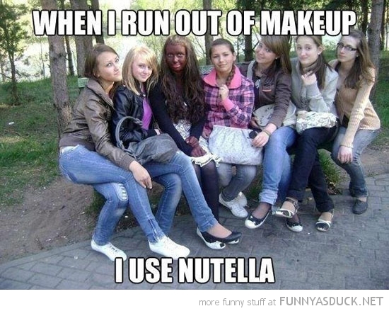 girl brown tanned face run out make-up nutella funny pics pictures pic picture image photo images photos lol