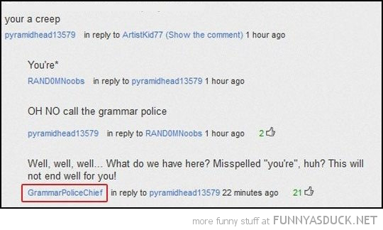 grammar police you tube comment funny pics pictures pic picture image photo images photos lol