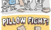 homeless people fighting comic pillow fight funny pics pictures pic picture image photo images photos lol